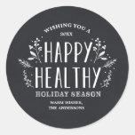 Etiquetas saudáveis felizes do Tag do presente do Adesivo Redondo