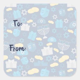 Adesivo Quadrado Etiquetas temáticos de Hanukkah