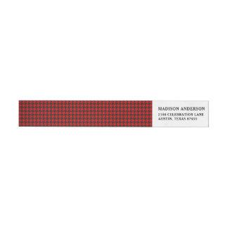 Etiquetas Teste padrão vermelho e preto de Houndstooth