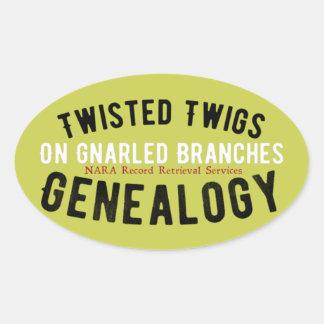 Etiquetas torcidas da árvore genealógica dos