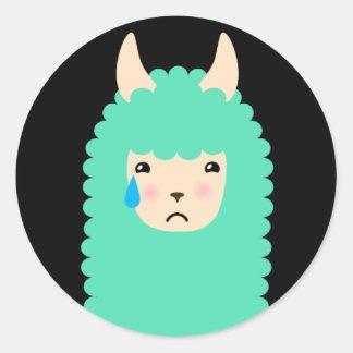 Etiquetas tristes de Emoji do lama