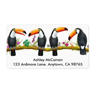 Etiquetas tropicais dos pássaros de Toucan