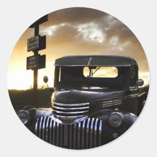Etiquetas velhas do caminhão de Chevy Adesivo Redondo