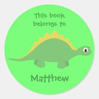 Etiquetas verdes bonitos do dinossauro dos adesivo