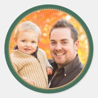 Etiquetas verdes da foto do feriado adesivos em formato redondos
