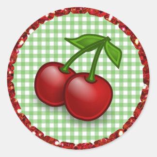 Etiquetas verdes das cerejas do guingão