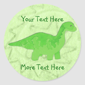 Etiquetas verdes de Dino Adesivos Redondos