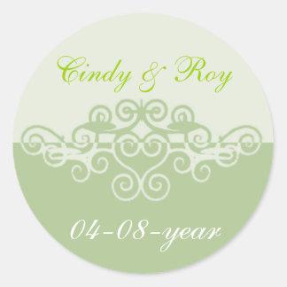 Etiquetas verdes do casamento adesivo redondo