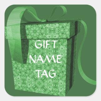 Etiquetas verdes do nome de etiqueta da fita da adesivo quadrado