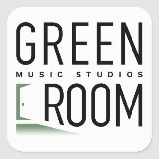 Etiquetas verdes dos estúdios da música da sala