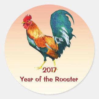 Etiquetas vermelhas chinesas do galo do ano novo