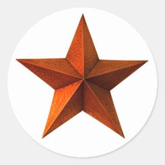 Etiquetas vermelhas da estrela adesivo em formato redondo