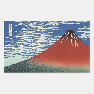 Etiquetas vermelhas de Fuji do céu do espaço livre Adesivo Retangular