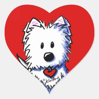 Etiquetas vermelhas do coração de KiniArt Westie Adesivo Coração