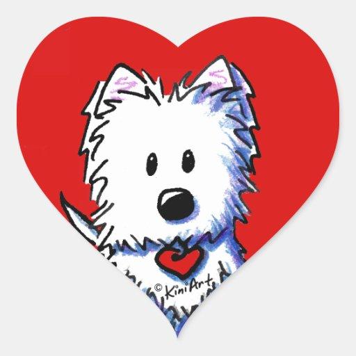 Etiquetas vermelhas do coração de KiniArt Westie Adesivos Em Forma De Corações
