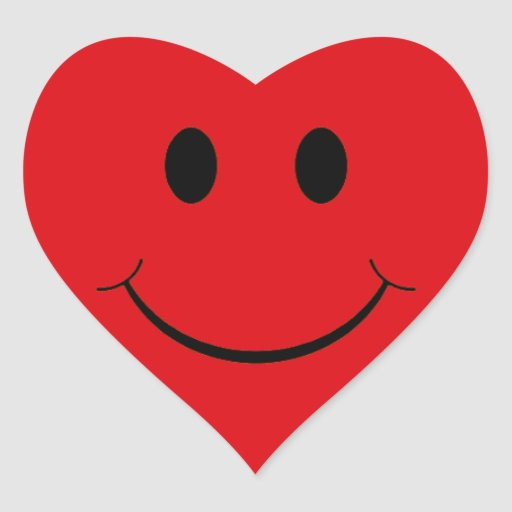 Etiquetas vermelhas do smiley face do coração adesivo de coração
