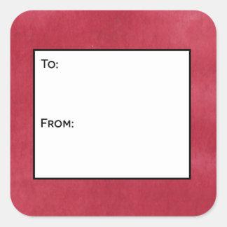 Etiquetas vermelhas do Tag do presente do vitral Adesivo Quadrado