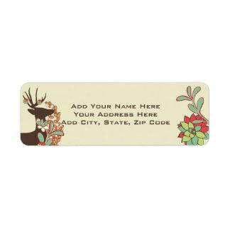 Etiquetas vermelhas e da hortelã dos cervos do etiqueta endereço de retorno