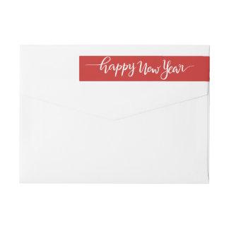 Etiquetas Vermelho escrito à mão branco do roteiro do feliz