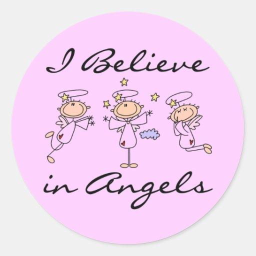 Eu acredito em etiquetas dos anjos adesivos em formato redondos