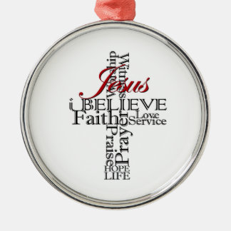 eu acredito enfeites de natal redondos da fé