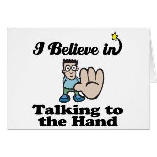 eu acredito na fala à mão cartões