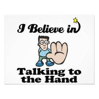eu acredito na fala à mão convites personalizados
