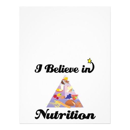 eu acredito na nutrição panfletos coloridos