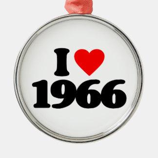 EU AMO 1966 ORNAMENTO REDONDO COR PRATA