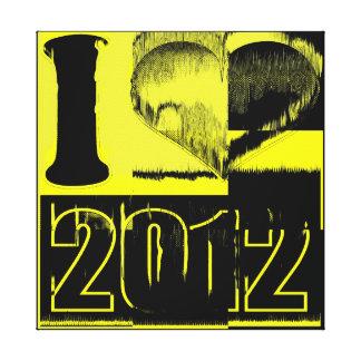 Eu amo 2012 - canvas amarelas pretas das belas art