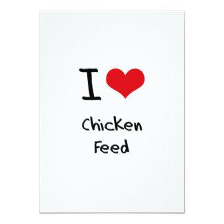 Eu amo a alimentação de galinha convite personalizado
