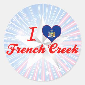 Eu amo a angra francesa, New York Adesivos Redondos