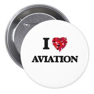 Eu amo a aviação bóton redondo 7.62cm