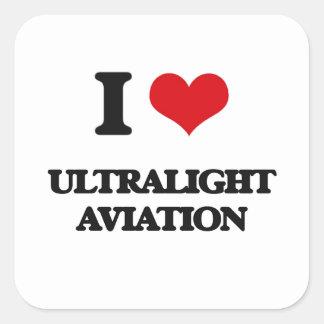 Eu amo a aviação ultraleve adesivo quadrado