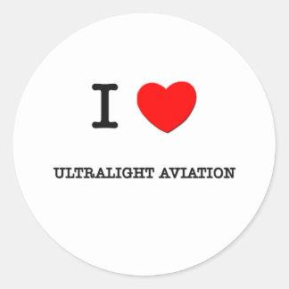Eu amo a aviação ultraleve adesivos redondos