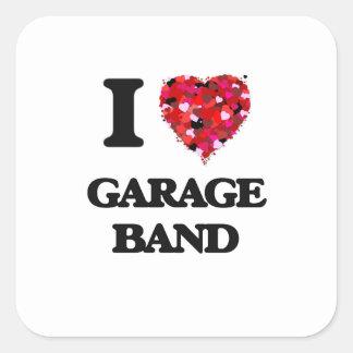 Eu amo a banda da garagem adesivo quadrado
