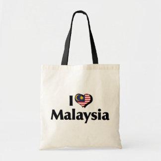 Eu amo a bandeira de Malaysia Bolsa Tote