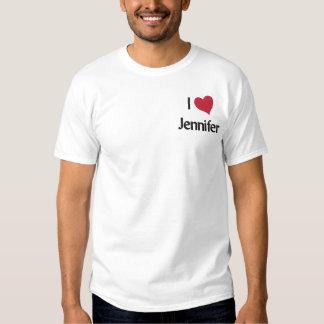 Eu amo a camisa bordada Jennifer