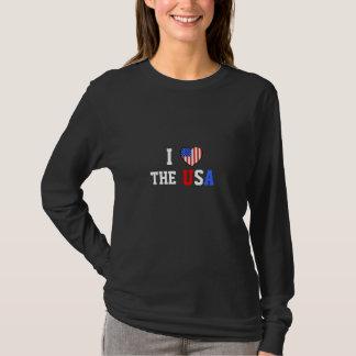Eu amo a camisa longa da luva das senhoras dos EUA