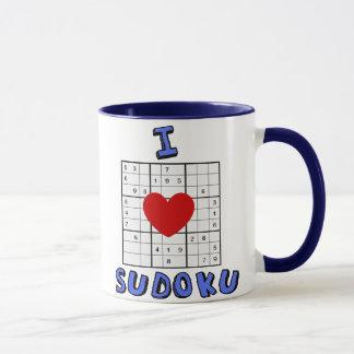 Eu amo a caneca de café do quebra-cabeça de Sudoku