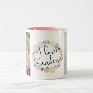 Caneca De Café Em Dois Tons Eu amo a caneca feita sob encomenda da foto da avó