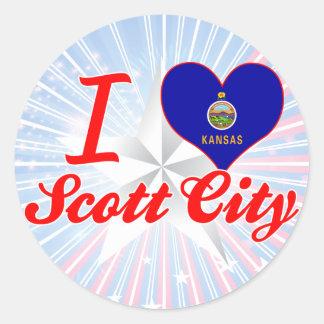 Eu amo a cidade de Scott, Kansas Adesivo Em Formato Redondo