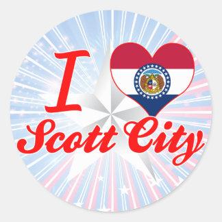 Eu amo a cidade de Scott, Missouri Adesivo Redondo