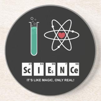 Eu amo a ciência - porta copos do arenito