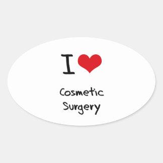 Eu amo a cirurgia estética adesivo oval