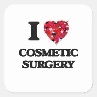 Eu amo a cirurgia estética adesivo quadrado