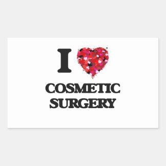 Eu amo a cirurgia estética adesivo retangular
