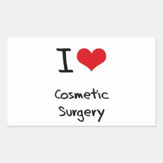 Eu amo a cirurgia estética adesivos em forma retangular