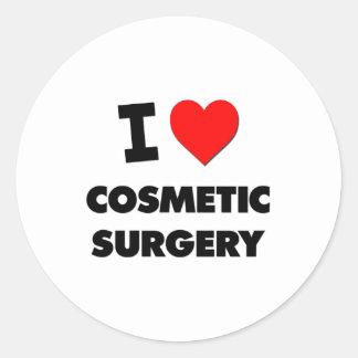Eu amo a cirurgia estética adesivo em formato redondo