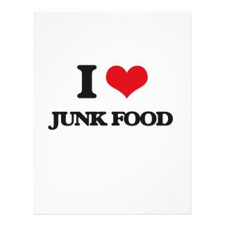 Eu amo a comida lixo panfletos personalizado